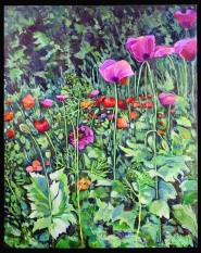 """Poppy Jungle"" 24X30"" Oil over acrylic on canvas $800"