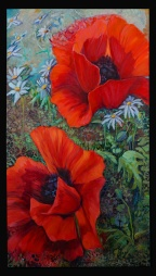 """""""Cathy's Poppies"""" 20X36 Oil on Canvas Sold"""