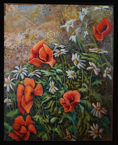 """""""Poppies Love Daisies 2"""" Oil on Canvas Sold"""