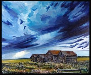 """""""Beneath a Painted Sky"""" 36X30"""" Acrylic on canvas $980"""