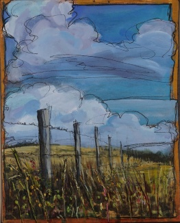 """Fence Line"" 8X10"" Acrylic & ink on canvas $265"