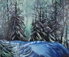 """Nistowiak Falls"" 36X30"" Acrylic & mixed media on canvas $980"