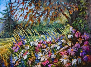 """""""Painted Daisies"""" 36X30"""" Oil on canvas $980"""