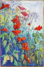 """""""Poppy Love"""" 24X36"""" Acrylic on canvas $890"""