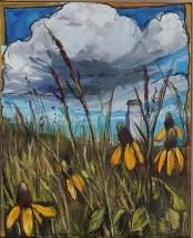 """Prairie Susans"" 8X10"" Acrylic and ink on canvas $265"