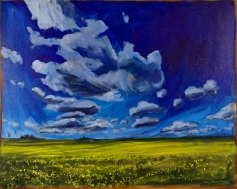 """""""Clouds and Canola"""" 30X24"""" Acrylic on canvas $800"""