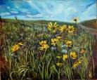"""Ditch Daisies"" 30X36"" Acrylic on canvas $980"