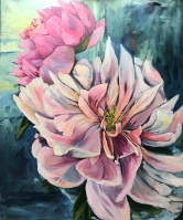 """Peonies"" 30X36 Acrylic on canvas $980"