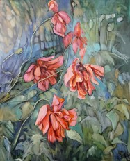 """Delta Fay's Poppies 2"" Oil on canvas, 24X30"" $800"